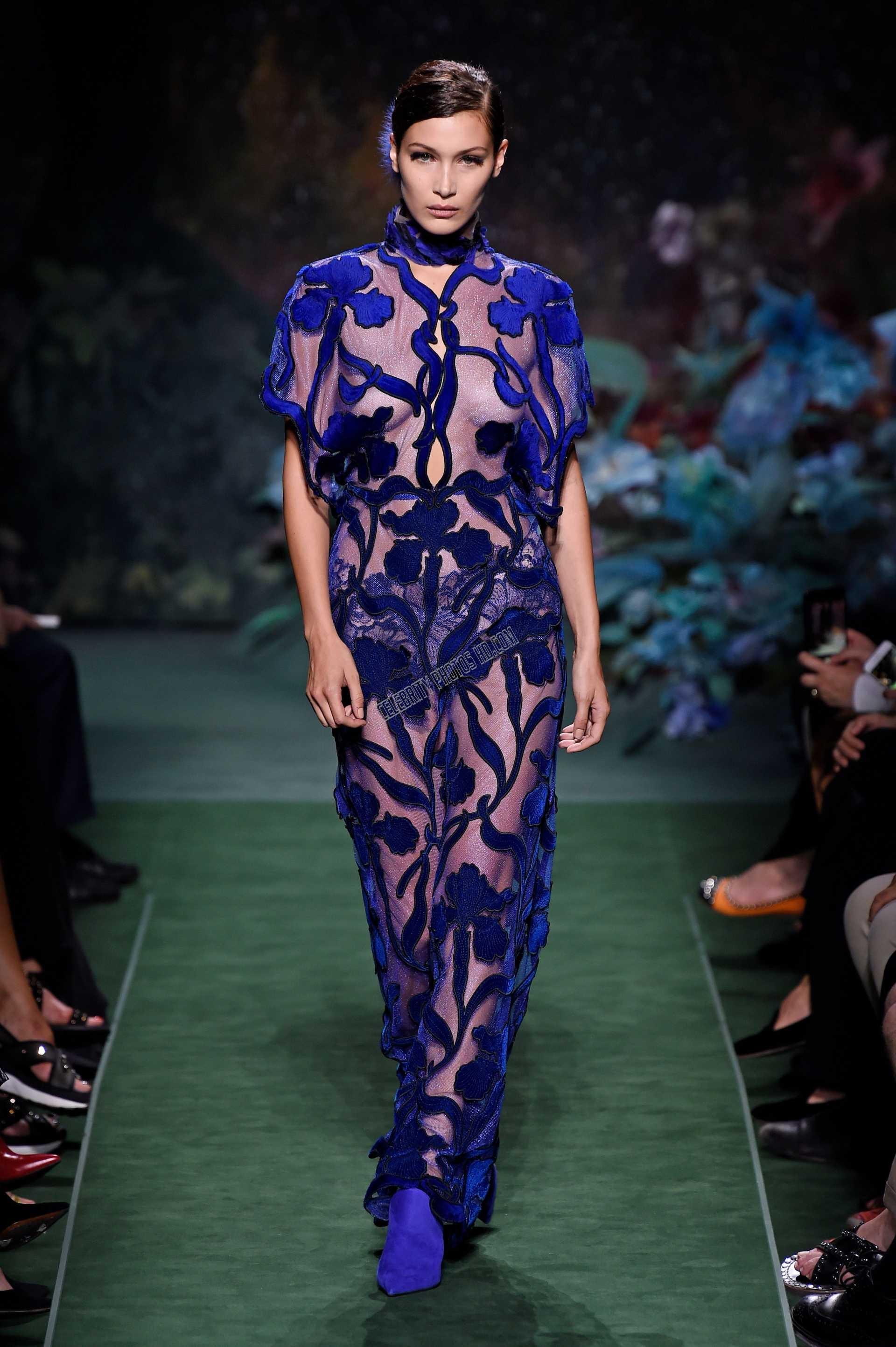 Bella Hadid hot transparent dresses at Fashion Week in Paris (4)