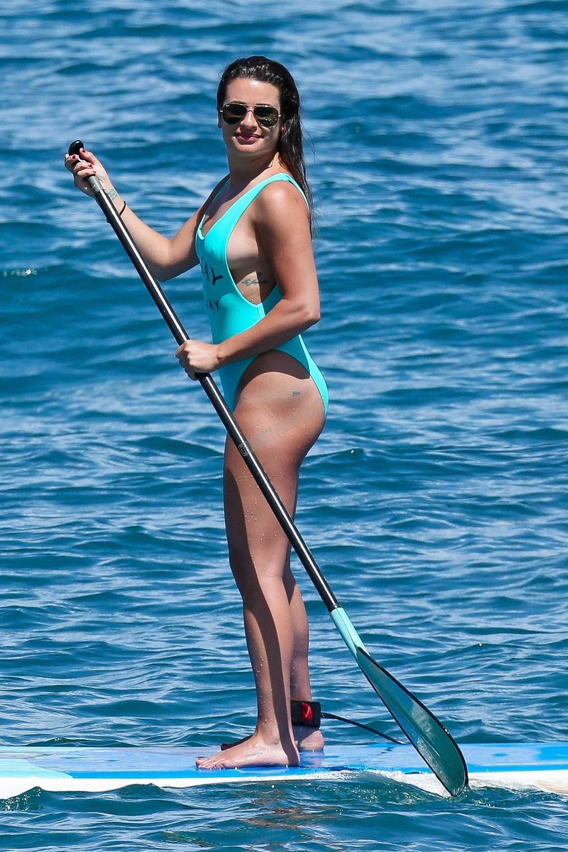 Lea Michele in Green Swimsuit (1)
