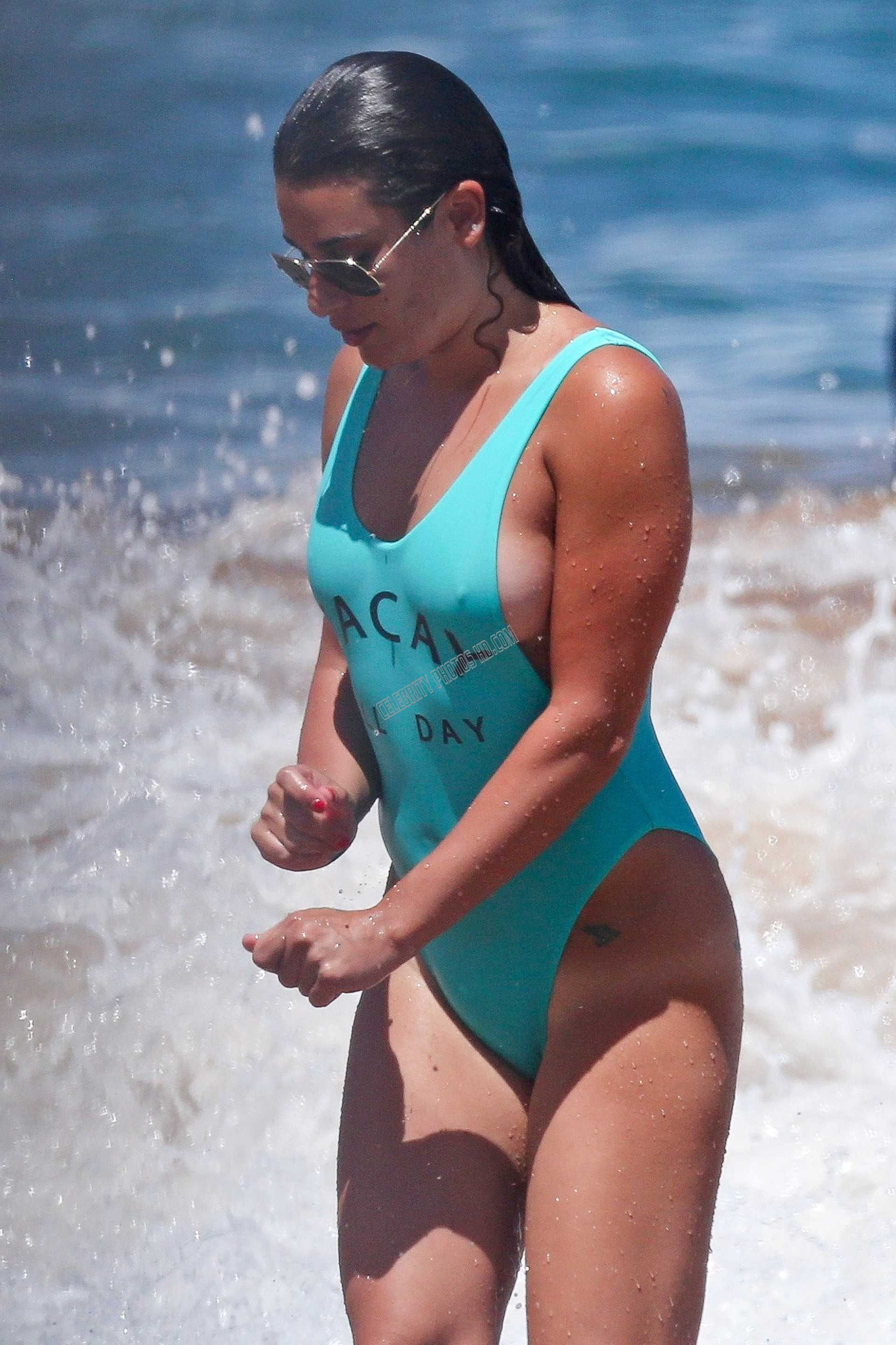 Lea Michele in Green Swimsuit (3)
