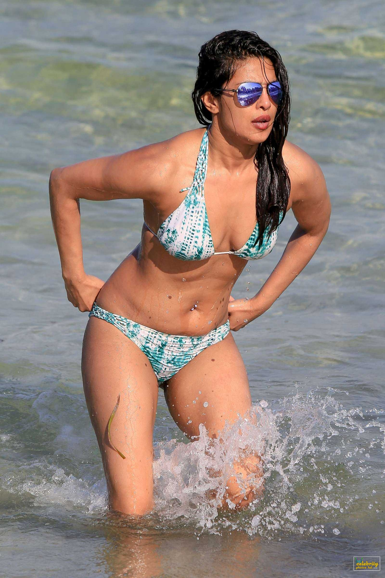 Priyanka Chopra in Bikini, Swimming in the Ocean at Beach in Miami
