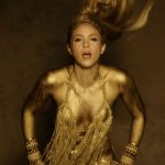 Pop Singer Shakira Perro Fiel Video Gold Body Paint.