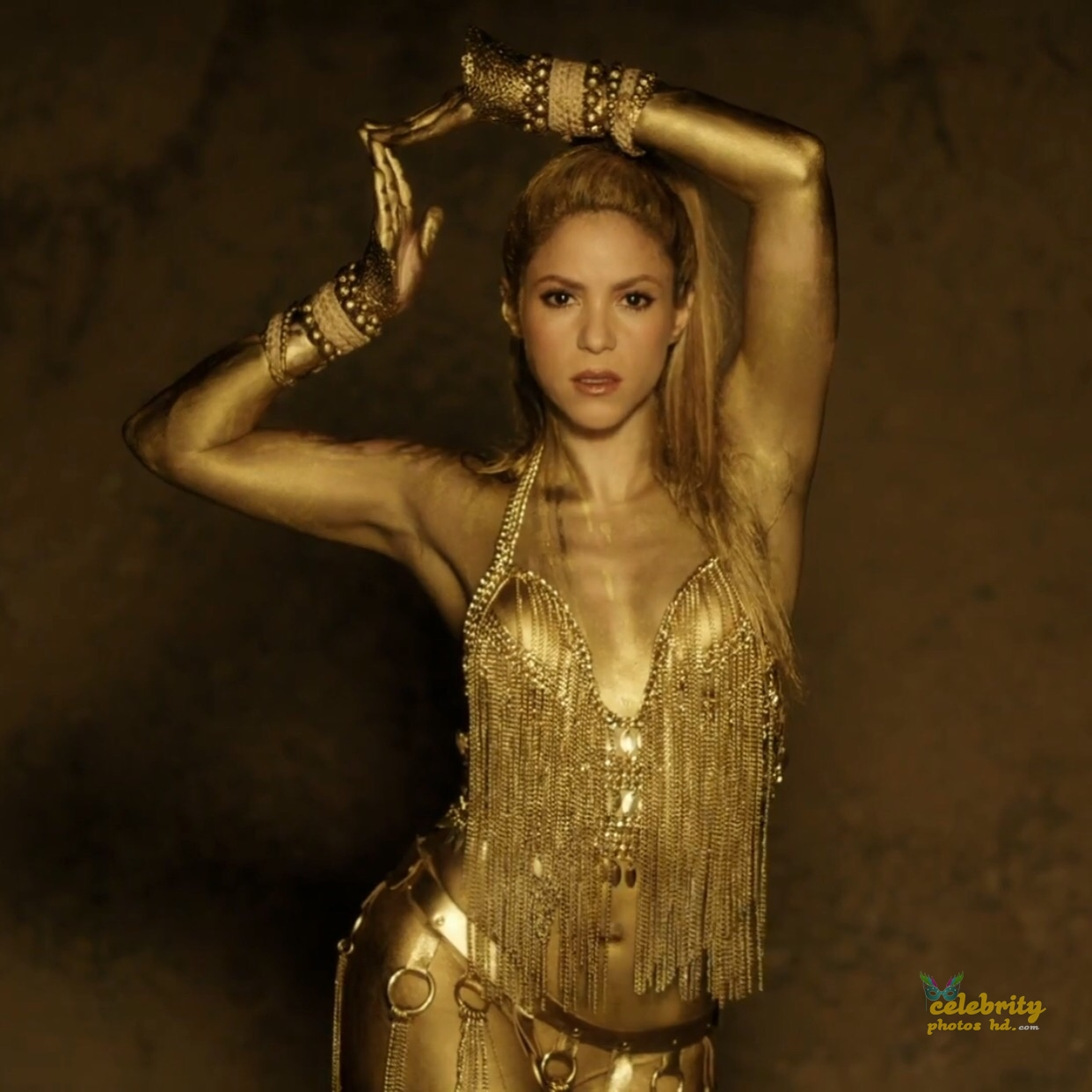 Shakira Perro Fiel Video Gold Body Paint (6)