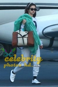 SELENA GOMEZ Arrives at a Private Jet in Los Angeles (1)