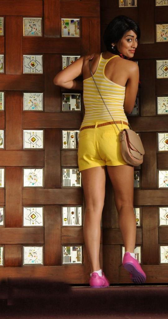 Shriya Saran in Yellow Sexy Shorts (1)