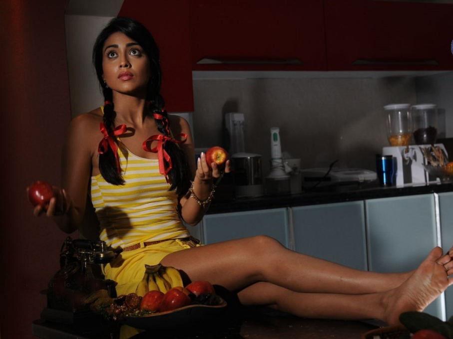 Shriya Saran in Yellow Sexy Shorts (2)