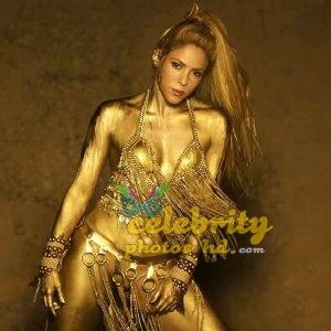 Shakira Perro Fiel Video Gold Body Paint (1)